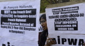 Indian protesters demonstrate during the visit of French President Francois Hollande in New Delhi on February 14 2013 The demonstrators protested...