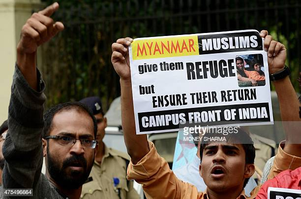 Indian protesters shout slogans in support of Rohingya Muslims in Myanmar during a rally in New Delhi on June 1 2015 Myanmar refuses to recognise its...