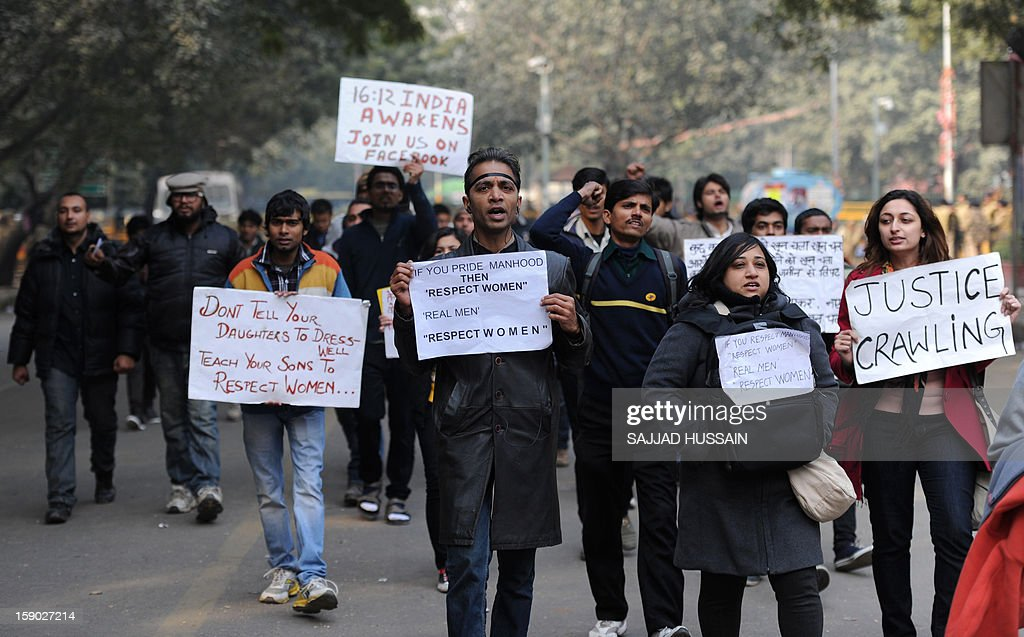 Indian protesters shouts slogans during a protest against a gang rape in New Delhi on January 6, 2013. Claims of police incompetence and public apathy stirred new anger in the Delhi gang-rape case after the boyfriend of the victim recounted details of the savage attack for the first time. The man was the only witness to the gang-rape of his girlfriend by six men on a moving bus on December 16 which has stirred sometimes violent protests against the treatment of women in Indian society and an apparent rise in sex crime