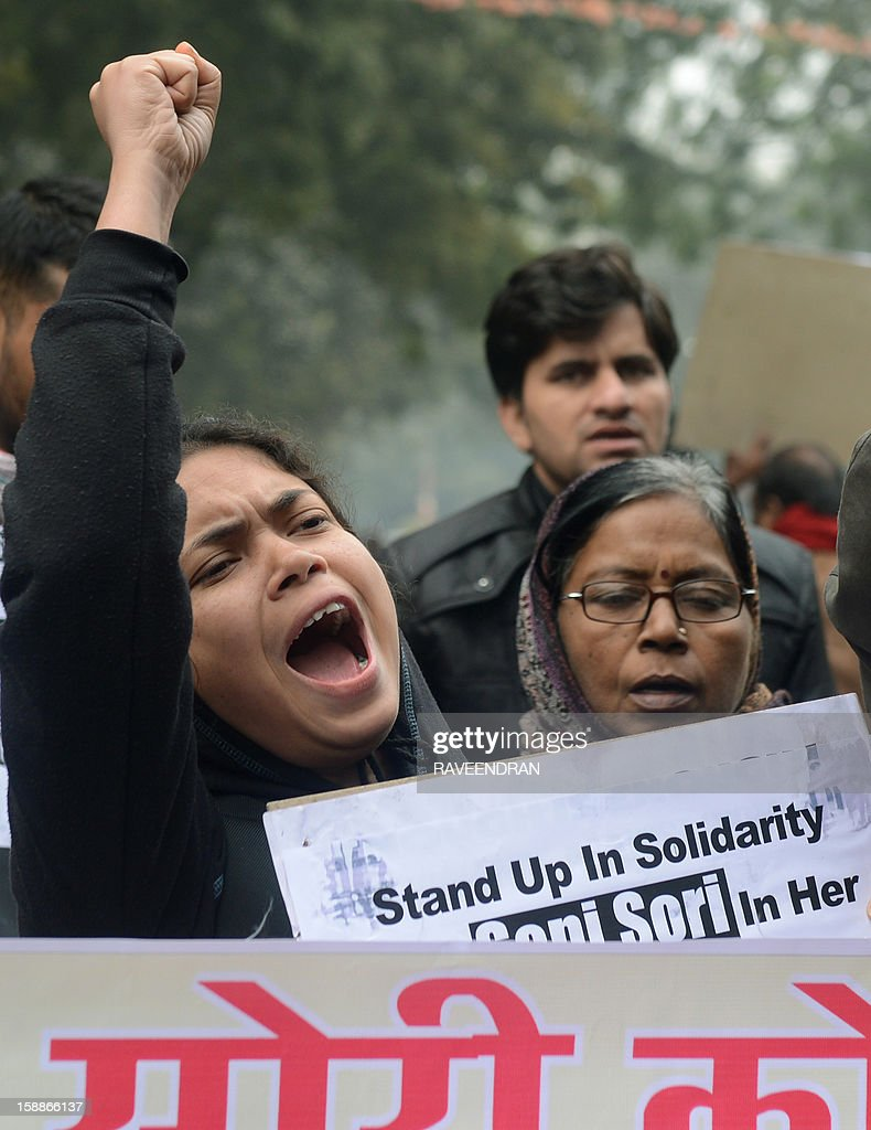 Indian protestors shout anti-government slogans during a protest against rape in New Delhi on January 2, 2013. The family of an Indian gang-rape victim said that they would not rest until her killers are hanged as police finalised their investigation before charges are laid against suspects this week. As the ruling Congress party reportedly pushed for tougher punishments for sex crimes, including chemical castration, authorities in New Delhi launched a hotline to improve safety for women in a city dubbed 'India's rape capital'.