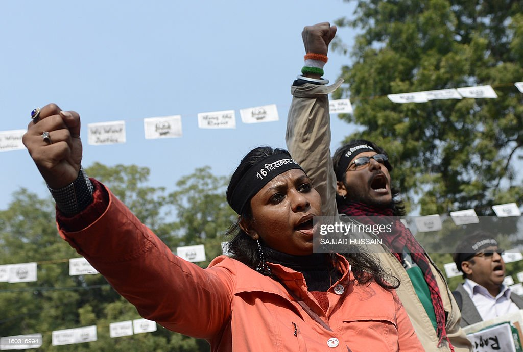 Indian protestors shouts slogan during a protest against last month's gang rape and murder of a student, in New Delhi on January 29, 2013. India's Supreme Court rejected on Tuesday an application to move the trial of five men accused of the fatal gang-rape of a student on a bus in New Delhi.