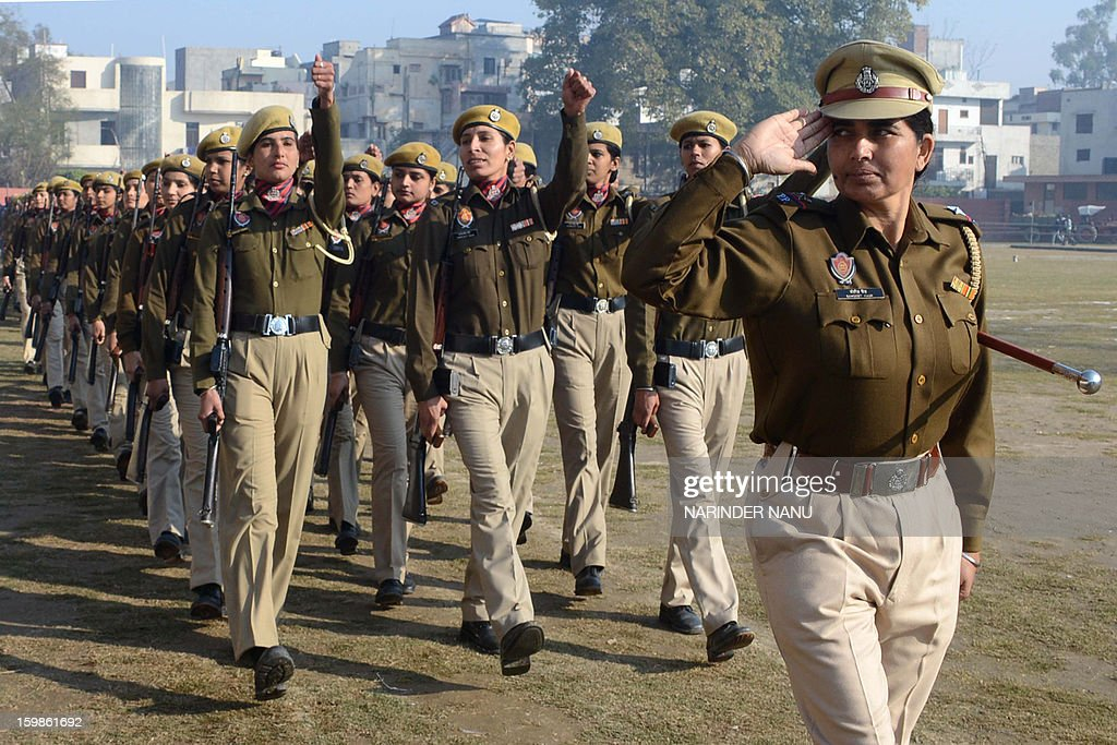 Indian Punjab state police personnel march during a rehearsal for the forthcoming 64th Republic Day parade at The Guru Nanak Stadium in Amritsar on January 22, 2013. Country-wide preparations are picking up in anticipation of Republic Day on January 26.