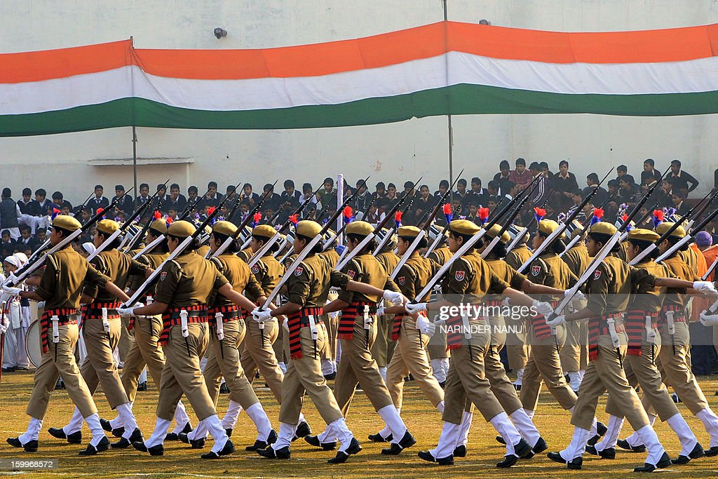 Indian Punjab state police personnel march during a rehearsal for the forthcoming 64th Republic Day parade in Amritsar on January 24, 2013. India will celebrate the 64th Republic Day on January 26 with a large military parade in the capital New Delhi.