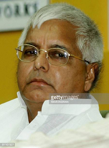 Indian Railway Minister Lalu Prasad Yadav looks on during a railway signal conference in New Delhi 23 July 2004 During the conference Lalu Prasad...