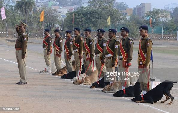 Indian Railway Protection Force dog squad personnel take part in a parade to mark during Republic Day celebrations in Secunderabad on January 26 2016...