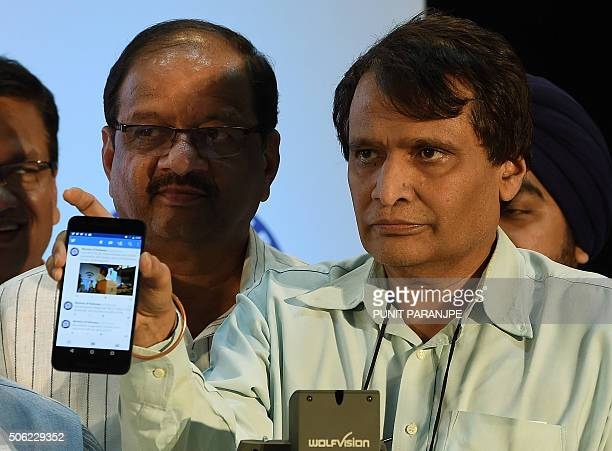Indian Railways Minister Suresh Prabhu poses for a photograph during the launch of a new free WiFi Internet service in Mumbai's central railway...