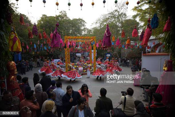 Indian Rajasthani folk dancers perform on the eve of the Jaipur Literature Festival in Jaipur on January 20 2016 The Jaipur Literature Festival is...