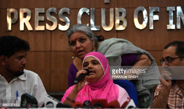 Indian rape survivor Bilkis Bano addresses a press conference New Delhi on May 8 2017 An Indian court May 4 convicted five police officers and two...