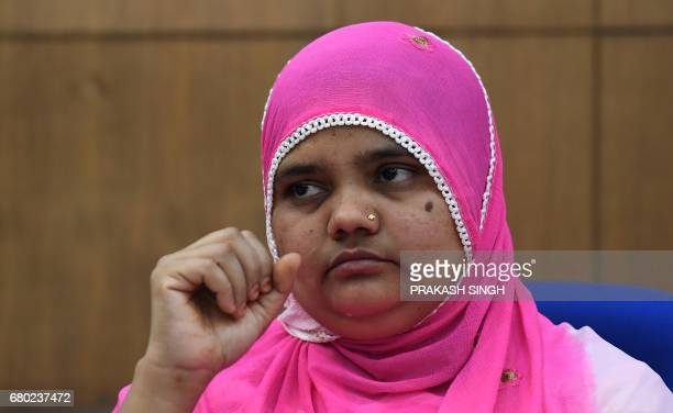 Indian rape survivor Bilkis Bano looks on during a press conference New Delhi on May 8 2017 An Indian court May 4 convicted five police officers and...