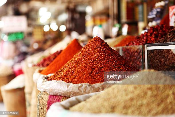Indian Red Chili Powder im Spice Geschäfte, Karachi Emprss Markt