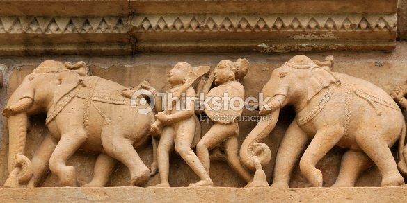 Indian Religious Symbols On Temples In Khajuraho Stock Photo