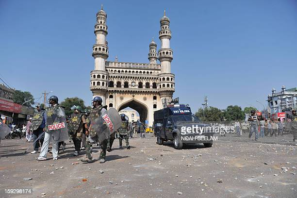 Indian riot police as seen near the landmark Chaminar monument during a demonstration by MajliseIttehadul Muslimeen supporters outside the historic...