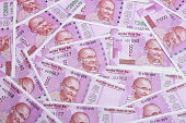 The brand new Indian currency bank notes of 2000 and 500 rupees bundle. Success and got profit from business