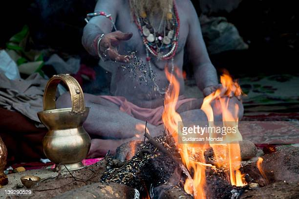 Indian sadhu making his ritual