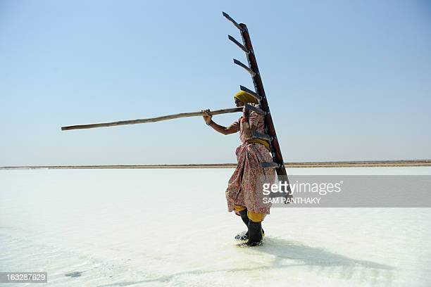 Indian salt worker Walbai Ayyubbhai carries a rake at a salt pan on the eve of International Women's Day in the Santalpur region of Little Rann of...