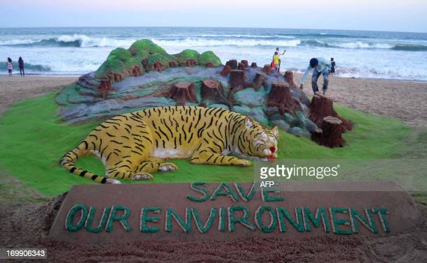 Indian sand artist Sudersan Pattnaik gives the final touch to his sand sculpture on the eve of World Environment Day at Puri sea beach about 65...