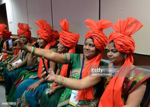 Indian sarpanches from Maharashtra attend a 'Swachh Shakti 2017' award ceremony attended by Indian Prime Minister Narendra Modi in Gandhinagar some...