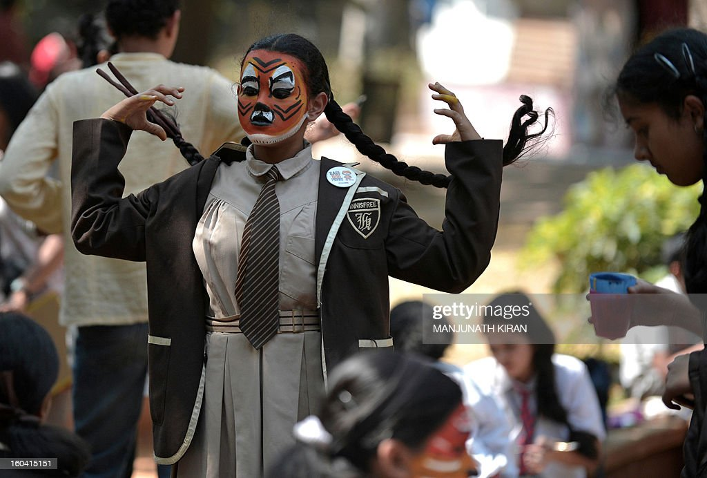 Indian school children carry stuffed tiger toys as they take part in the 'Save Tiger Campaign' organised by the environmental magazine 'Sanctuary Asia' and conservation program 'Kids for Tigers' in Bangalore on January 31, 2013. The tiger census in India for 2012 stated that the total number of tigers in the country is between 1500 and 1800. AFP PHOTO/Manjunath KIRAN