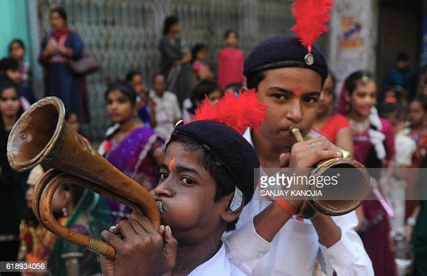 Indian school children participate in a religious procession as part of Hindu festival of Hanuman Jayanti in Allahabad on October 29 2016 Hanuman...