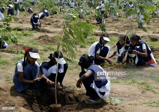 Indian school children plant trees during a mass tree planting drive in Hyderabad on August 22 2008 The aim of the program organised by the Hyderabad...