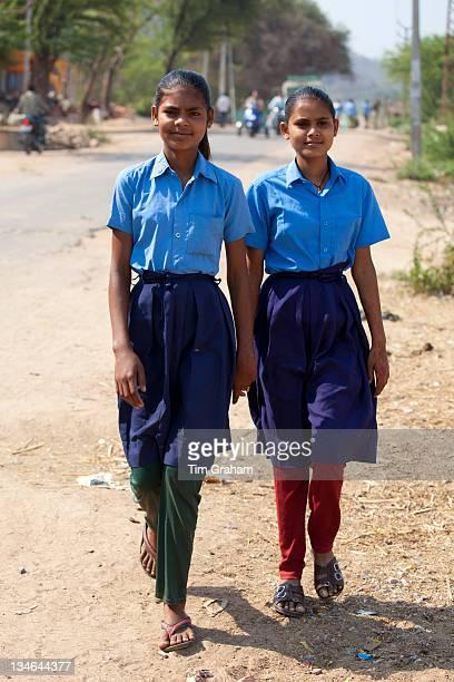 Indian schoolgirls in school uniform at Sawai Madhopur in Rajasthan Northern India