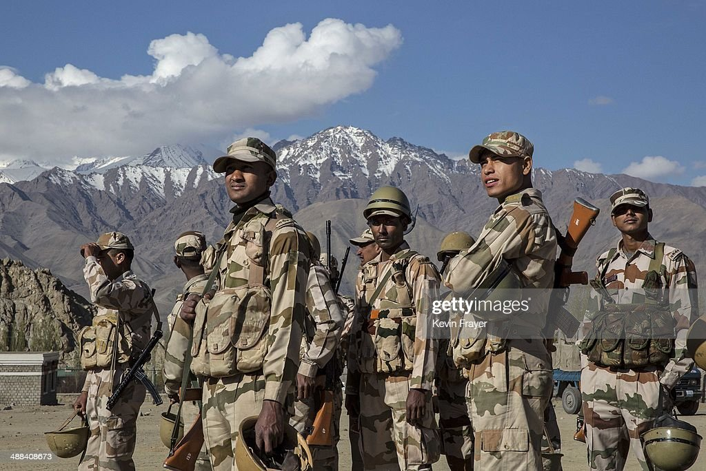 Indian security force soldiers on election duty wait to leave a central collection point to head to secure polling stations, on May 6, 2014 in Leh, Ladakh, India. India is in the midst of a nine phase election that began on April 7th and ends on May 12th. Ladakh voters will vote on May 7th.