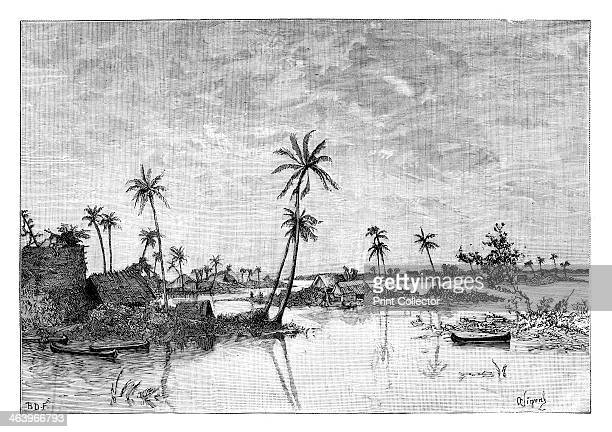 'Indian settlement on the Islands of San Blas Bay' c1890 View in the Caribbean From Universal Geography Maps Illustrations Vol XXXIV Virtue Co Limited