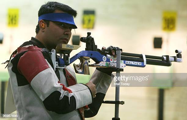 Indian Shooter Gagan Narang at the Commonwealth Shooting Championship in New Delhi on February 20 2010