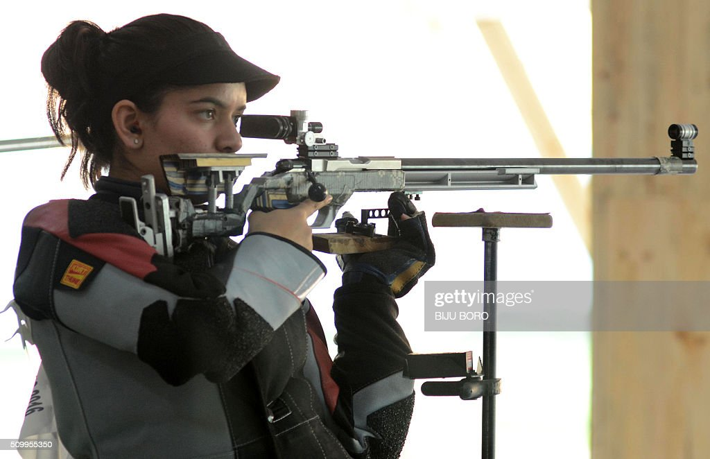 Indian shooting competitor Anjum Modgil takes part in the final of the Women's 50m Rifle event during the 12th South Asian Games 2016 in Guwahati on February 13, 2016. Modgil won the event. AFP PHOTO / Biju BORO / AFP / BIJU BORO