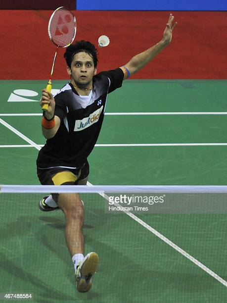 Indian shuttler Parupalli Kashyap in action against HSU Jen Hao of Chinese Taipei in mens singles second round of the YonexSunrise India Open 2015 at...