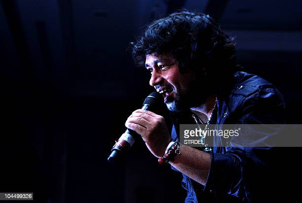 Indian singer Kailash Kher performs at the music launch ceremony for the Faruk Kabirdirected Bollywood film 'Allah Ke Banday' in Mumbai on September...