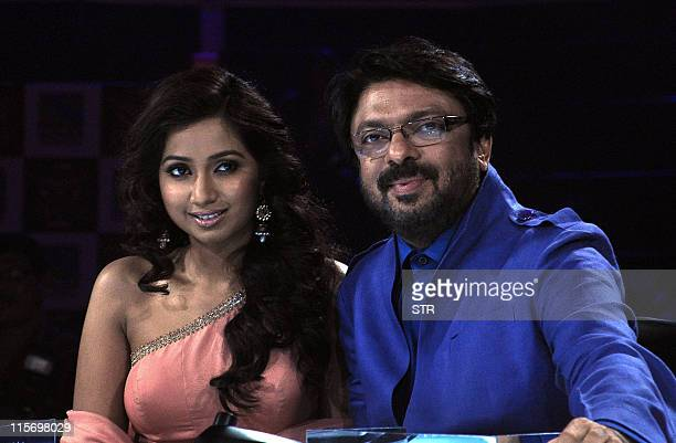 Indian singer Shreya Ghoshal and Bollywood film director Sanjay Leela Bhansali two of the three judges for the The X Factor the television music...