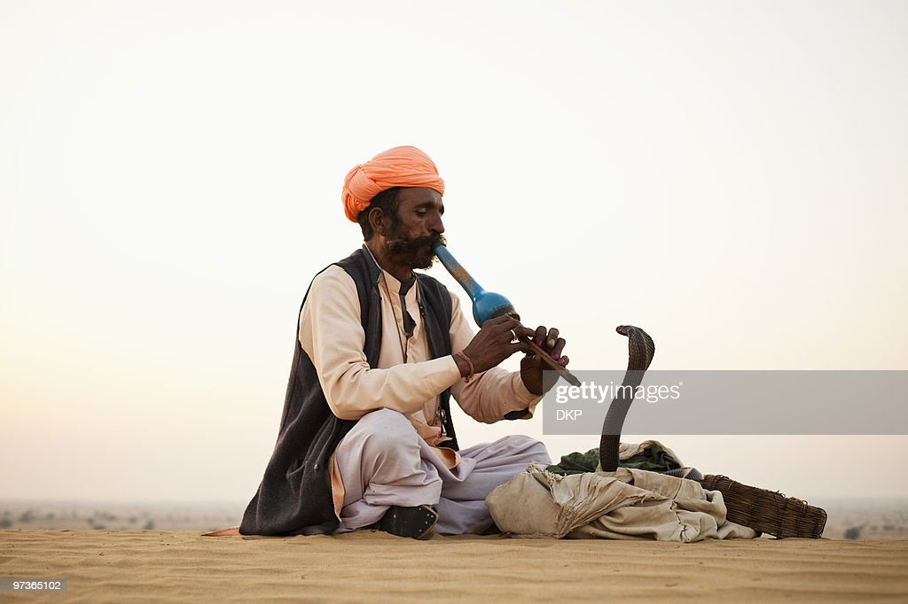 Indian Snake Charmer and Cobra : Stock Photo