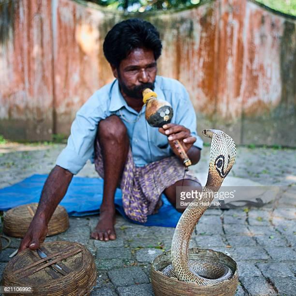 Indian snake charmer near Fort Kochi, Kerala