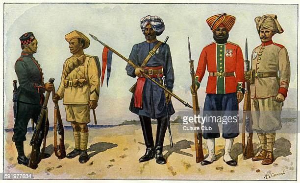 WWI Indian soldiers from the British Empire fighting on the side of the British Left to right Sepoy from 2nd Gurkha Rifles 4th DO in service kit...