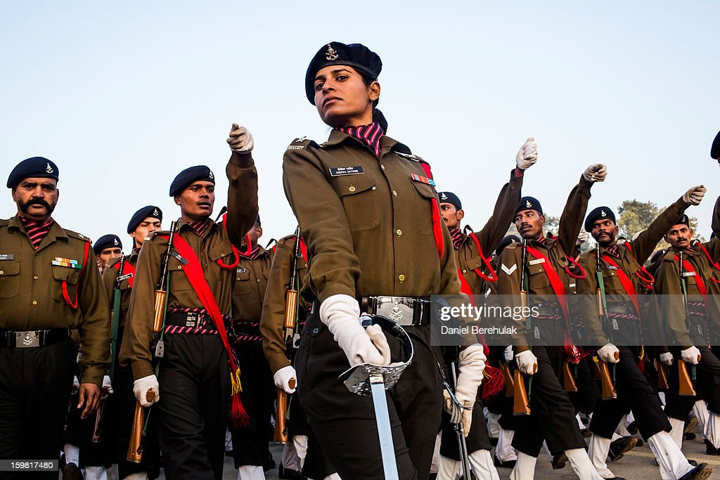 Indian soldiers practice marching in preparation for the upcoming Republic Day parade on January 21, 2013 in New Delhi, India. Republic Day is celebrated every year on January 26 to commemorate the date and moment when the Constitution of India came into effect. It is marked by a grand parade in the capital, with a show of force by the Indian military that starts from the Raisina Hill in the neighborhood of the majestic Rashtrapati Bhawan that passes along the Rajpath and ends at India Gate.