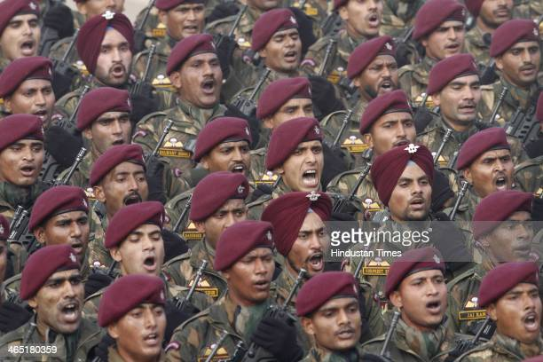 Indian soldiers special Contingent marching during the 65th Republic Day parade at Rajpath on January 26 2014 in New Delhi India India adopted its...