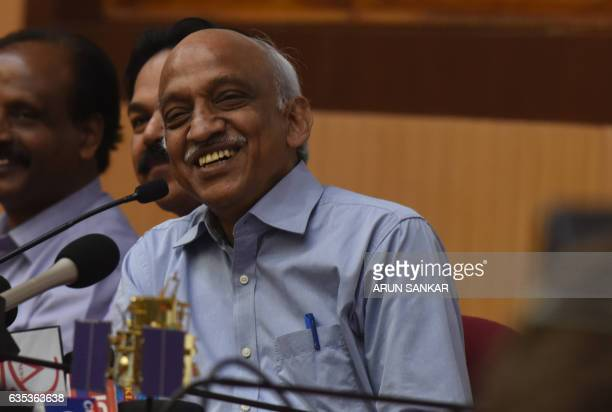 Indian Space Research Organisation chairman Kiran Kumar Rao speaks to media after the launch of the ISRO Polar Satellite Launch Vehicle at...