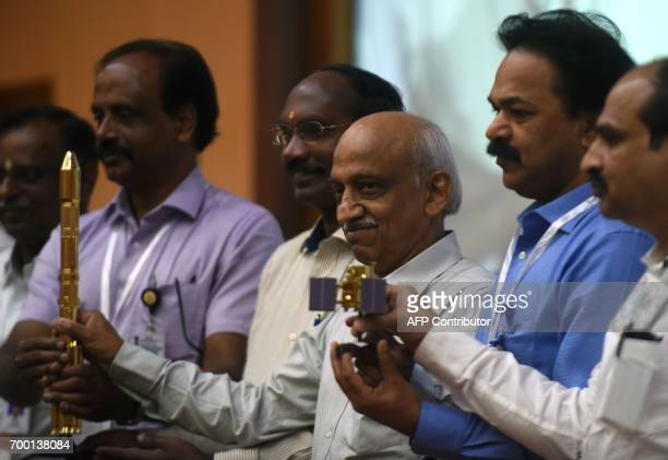 Indian Space Research Organisation chairman Kirankumar Reddy meets with press after an Indian PSLV rocket carrying an Earth observation satellite...