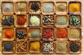 A large selection of commonly used Indian cooking spices in wooden trays on an old table. Spices include, chili ,cumin, tumeric, corriander, cumin, cardamon, garam masala, saffron, cinamon and star an