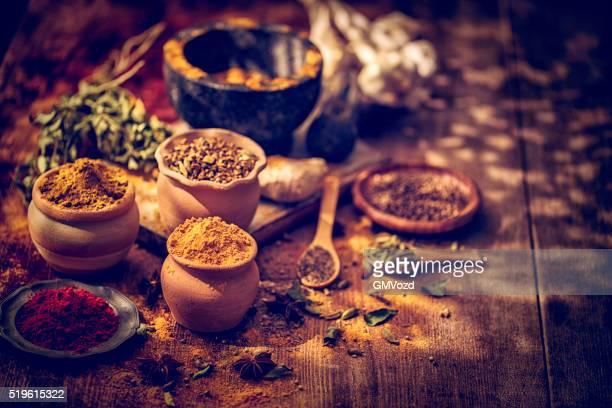 Indian Spices on Wooden Background