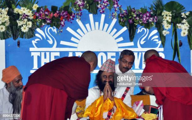 Indian spiritual leader and founder of the Art of Living Foundation Sri Sri Ravi Shankar speaks during the International Yoga Day on June 21 2017 in...
