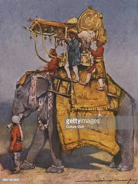 Indian state elephant three men riding an elephant adorned with a decorative headpiece caption reads ' A State Elephant in all its Trappings Even...
