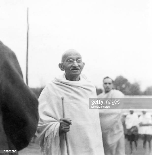 Indian statesman and activist Mohandas Karamchand Gandhi at Ramgarh 1939 With him is Deepak Chaudhry son of Saraladevi Chaudhry a relative of...