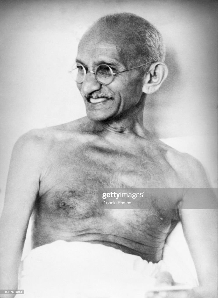Indian statesman and activist Mohandas Karamchand Gandhi (1869 - 1948) in India, 1942.