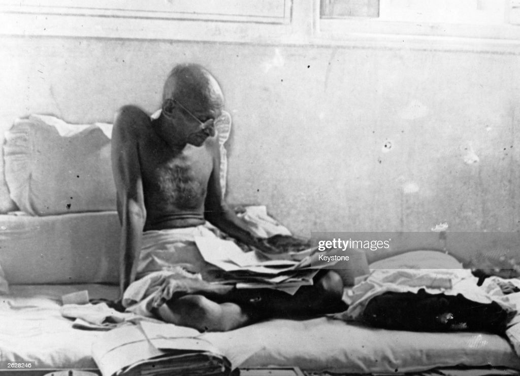 Indian statesman Mahatma Gandhi fasts in protest against British rule after his release from prison in Poona India