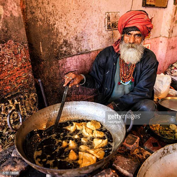 Indian street vendor preparing food, Jaipur, India