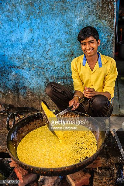 Indian street vendor preparing food, Jaipur, India