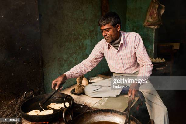 Indian street vendor preparing food - jalebi