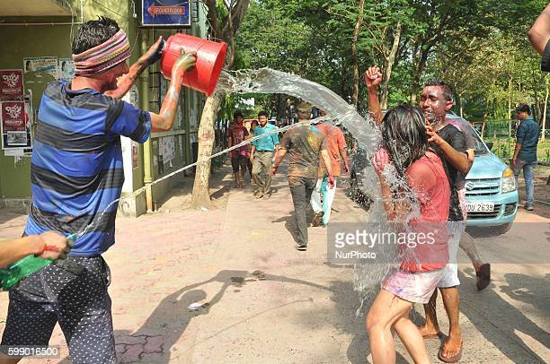 Indian Student celebrates Color Festival at South Kolkata Jadavpur University Campuses in India on March 22 2016